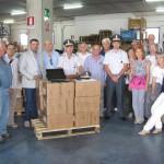 Una delegazione del Calcit Valdarno ritira una donazione del Comando della Guardia di Finanza, presso la Dogana di Arezzo.