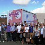 Consegna alla ASL8 del mammografo digitale mobile da parte di tutti i Calcit della provincia di Arezzo. Il Calcit Valdarno ha contribuito all'acquisto del mezzo con 50.000,00 Euro.